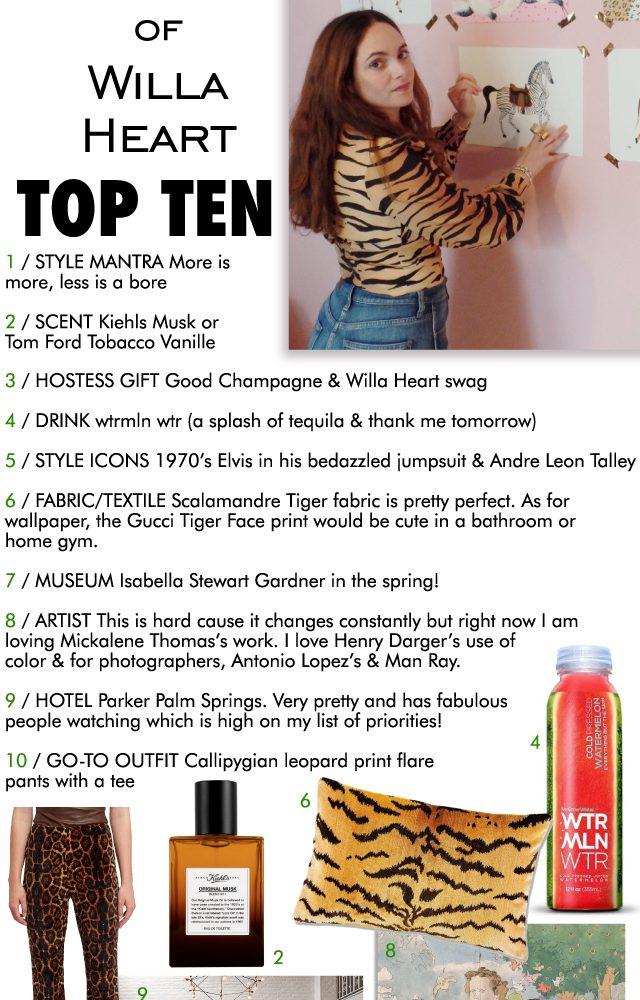 top ten : Willa heart