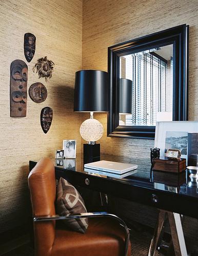 masculine-home-office-black-desk-seagrass-wallpaper-wallcovering