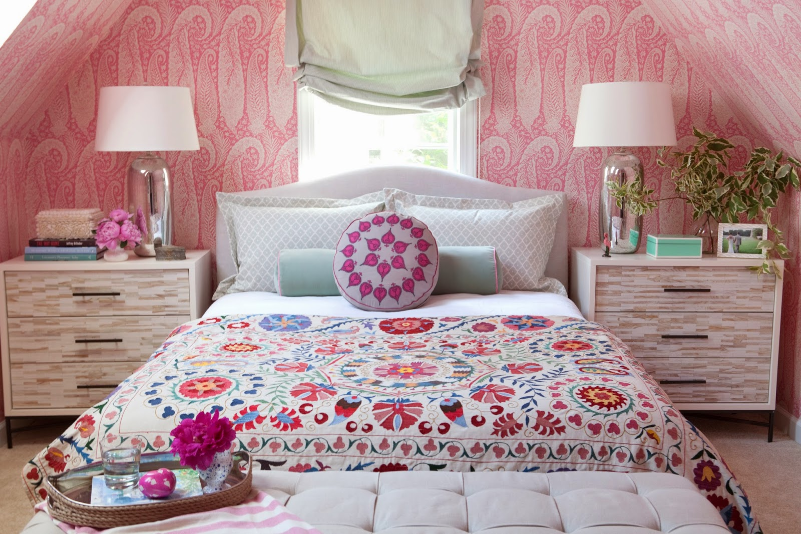 a pink paisley bedroom