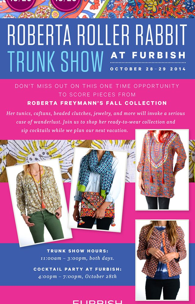roberta roller rabbit trunk show – today and tomorrow