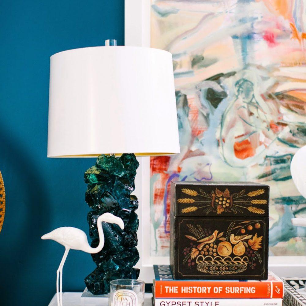 times two design slag glass lamp