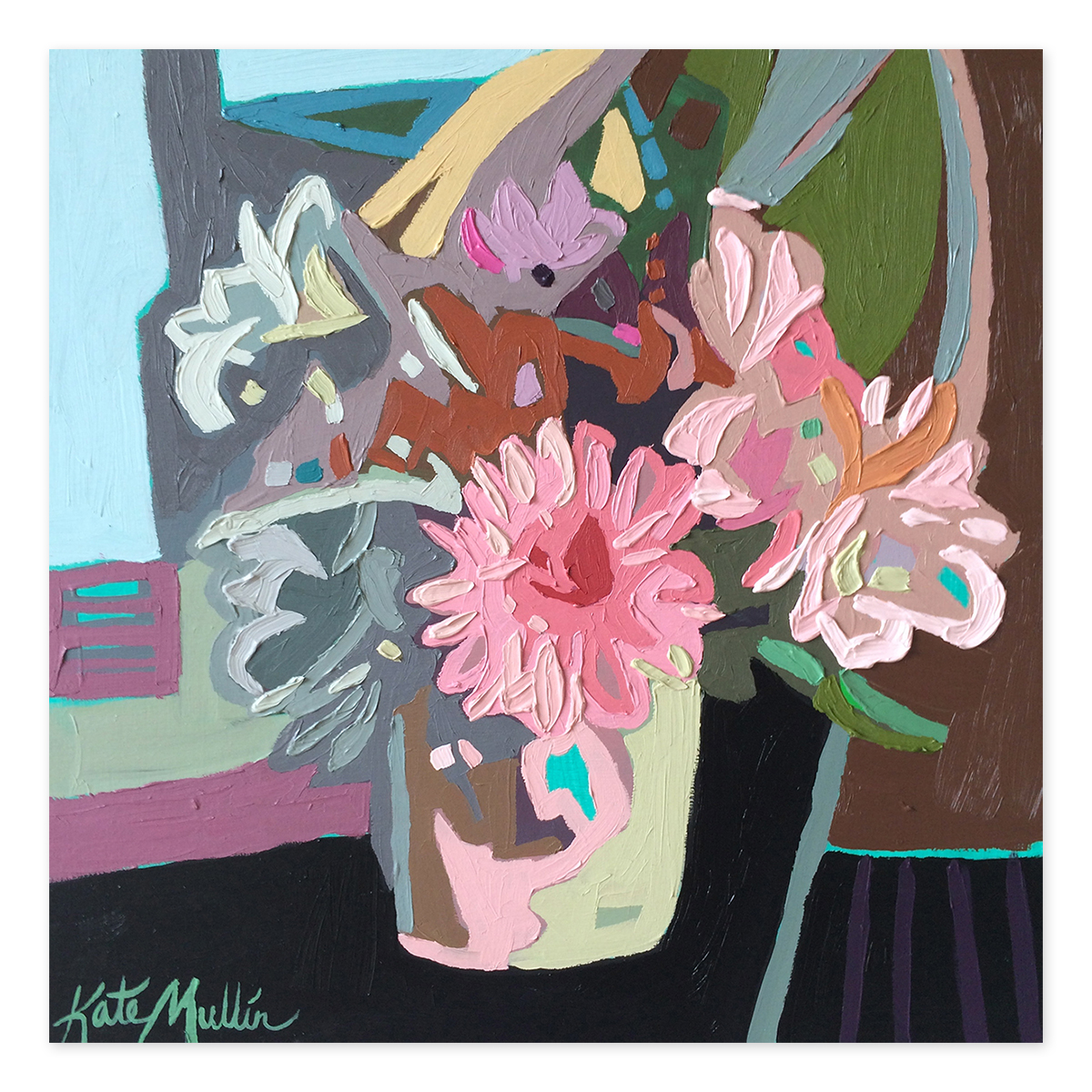 tomorrow: kate mullin's cows and colorful flowers